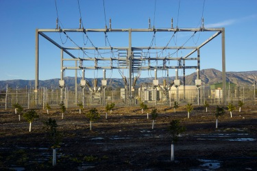 Fresh citrus surrounds new electrical substation in northern Redlands.