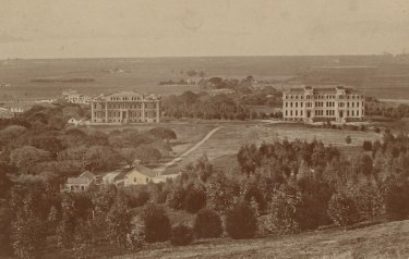 University of California, Berkeley campus, viewed from the east circa 1874. Photograph courtesy of the Bancroft Library.