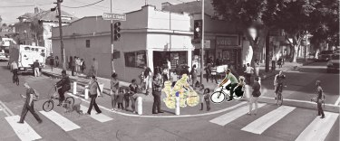 Cyclist cutouts heightening awareness in Boyle Heights. Mockup by Jeannette Mundy.