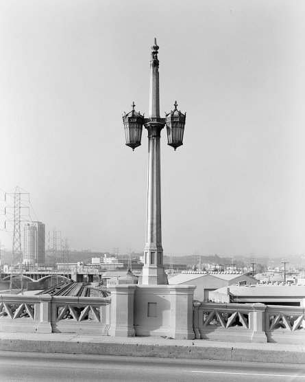 The tapering spires above the light standards on the Fourth Street Viaduct echo similar features found on Gothic cathedrals. Courtesy of the Library of Congress, Historic American Engineering Record Fourth Street Viaduct, HAER No. CA-280.