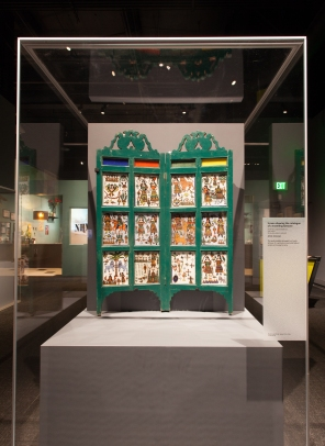 Screen showing the catalogue of a traveling tattooer, North Africa and the Middle East, 19th c., Wood, glass, pigment, and paint, Artist: Unknown.