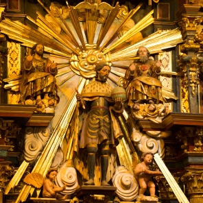 An altar at Mission San Fernando Rey de España showcases ideals of western thought.