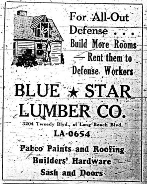 A 1942 ad in the South Gate Press encouraged home owners to build rooms that could serve as rental units for defense workers, who desperately sought housing during the war. South Gate Press, 8 January 1942.